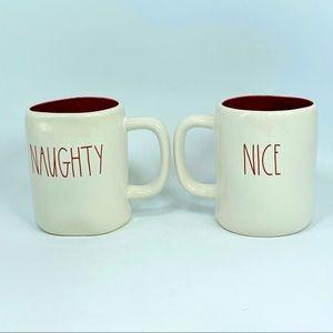 NEW Rae Dunn NAUGHTY & NICE Double Sided Mug Set